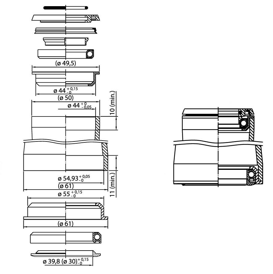 1,5 Tapered Semi-Integriert ZS44-ZS55
