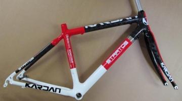 Kardan Stratos Carbon Rennrad Rahmen Rahmenkit S 51cm weiss/rot